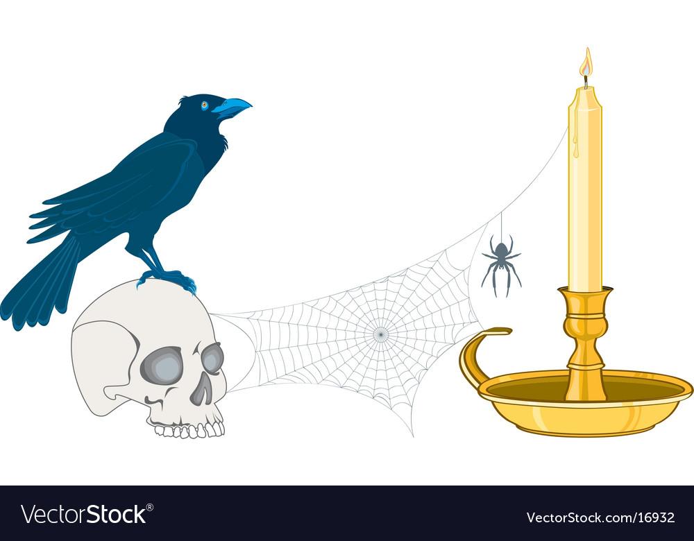 Crow on a cranium vector   Price: 3 Credit (USD $3)