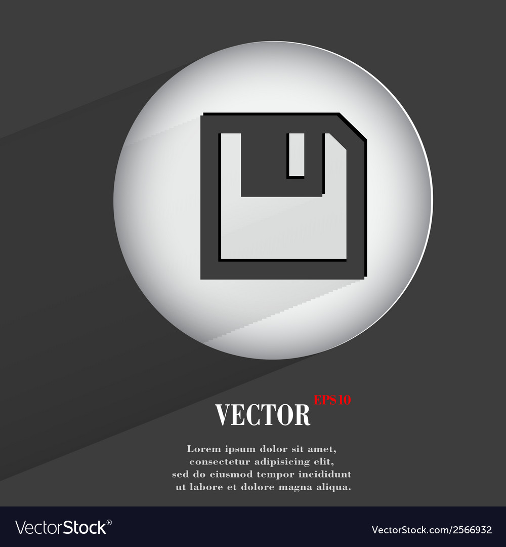 Floppy disk flat modern web button with long vector | Price: 1 Credit (USD $1)