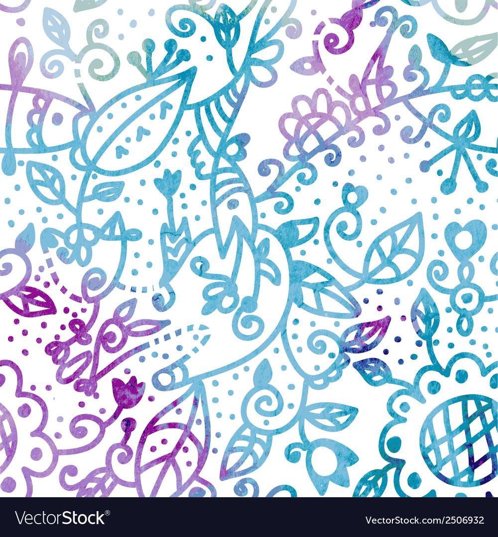 Floral seamless pattern watercolor design vector | Price: 1 Credit (USD $1)