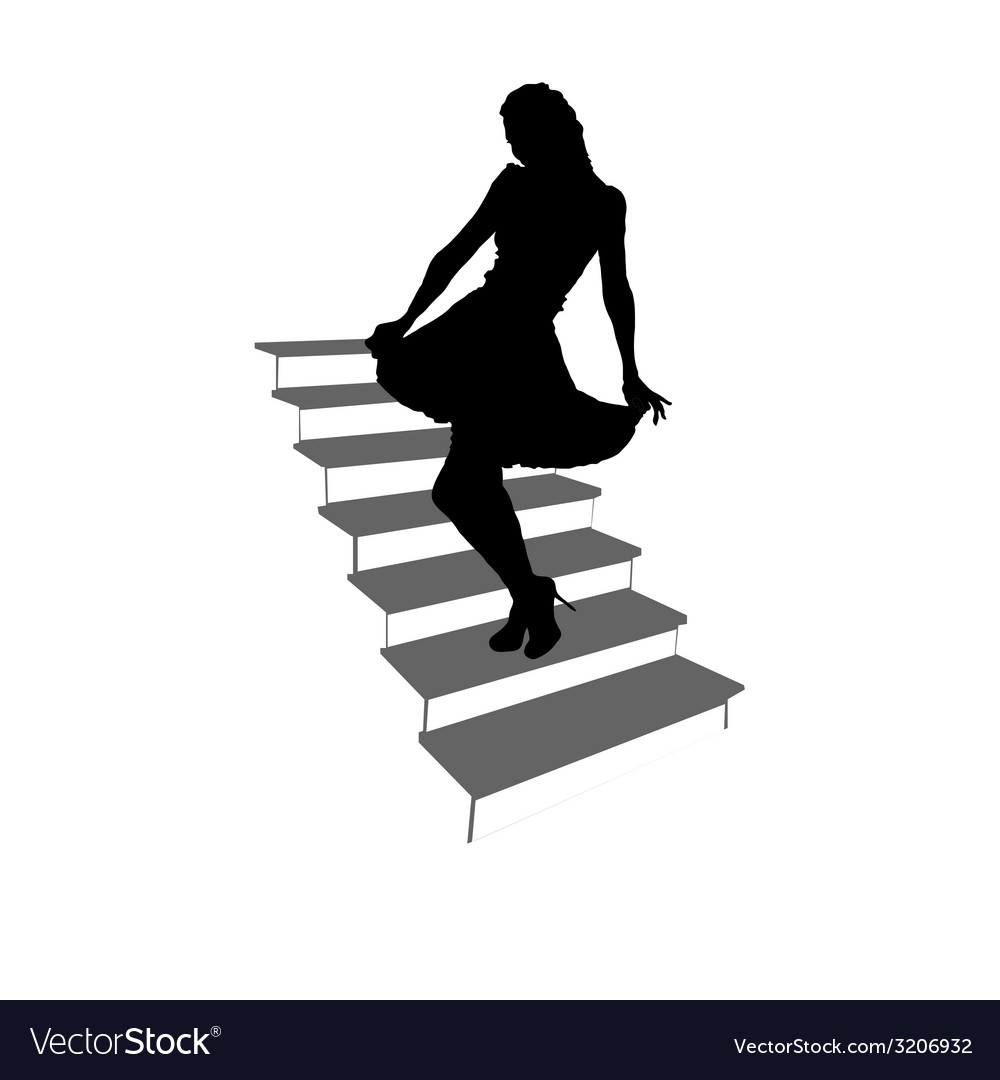 Girl posing on the stairs black silhouette vector   Price: 1 Credit (USD $1)