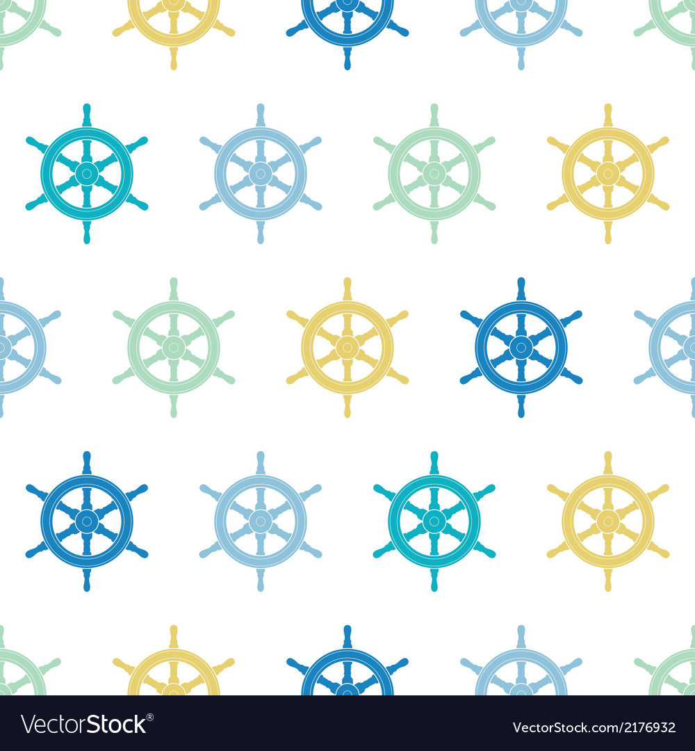 Nautical ship wheels colorful seamless pattern vector | Price: 1 Credit (USD $1)