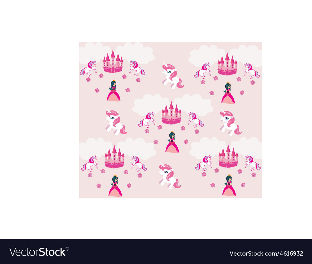 Princess unicorn and castle background vector | Price: 1 Credit (USD $1)
