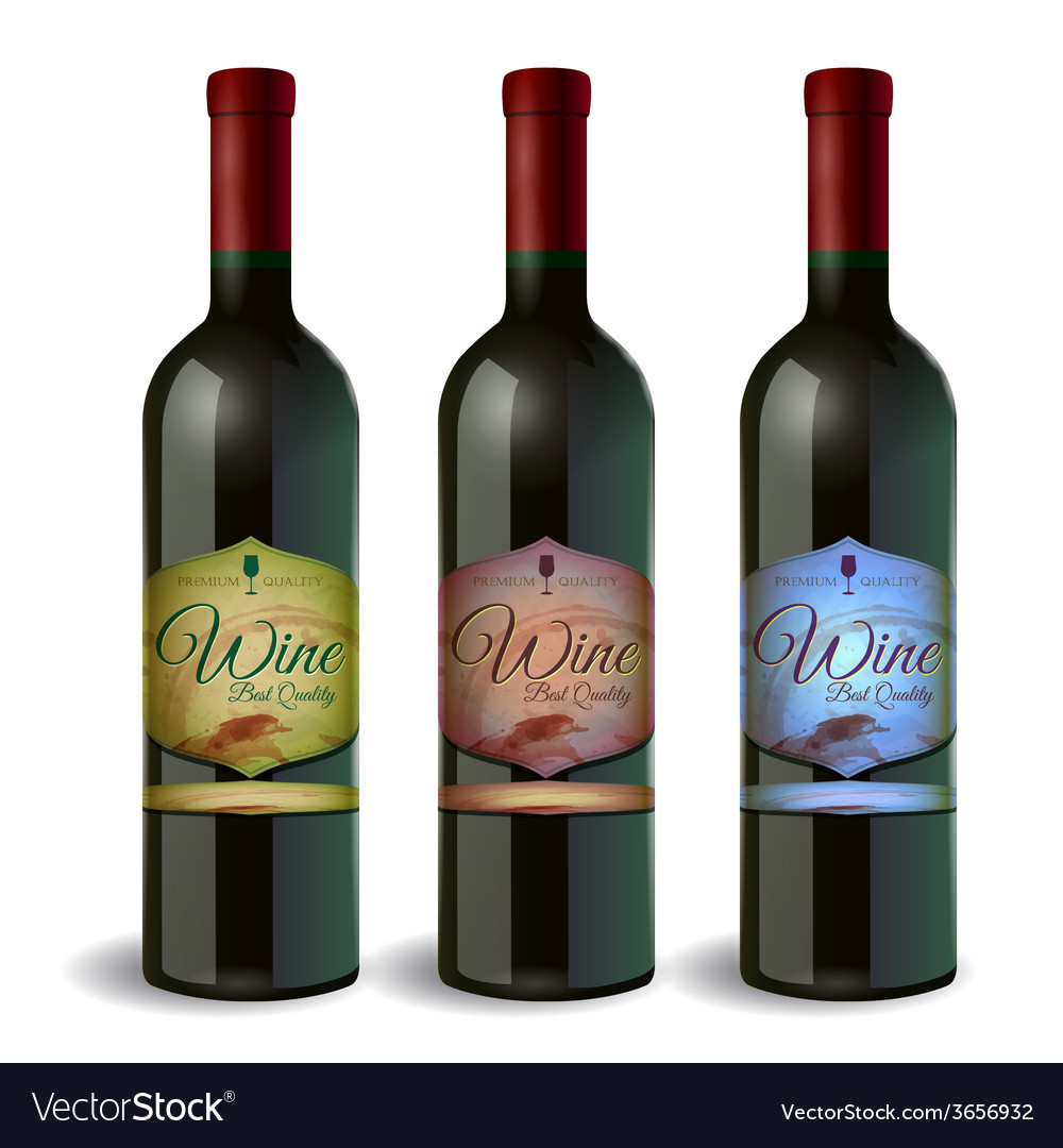 Set of wine bottle with label wine and grapes vector | Price: 1 Credit (USD $1)