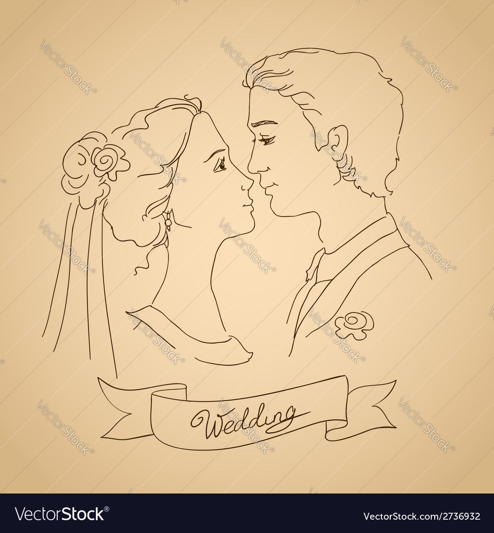 Sketch of bride and groom vector | Price: 1 Credit (USD $1)