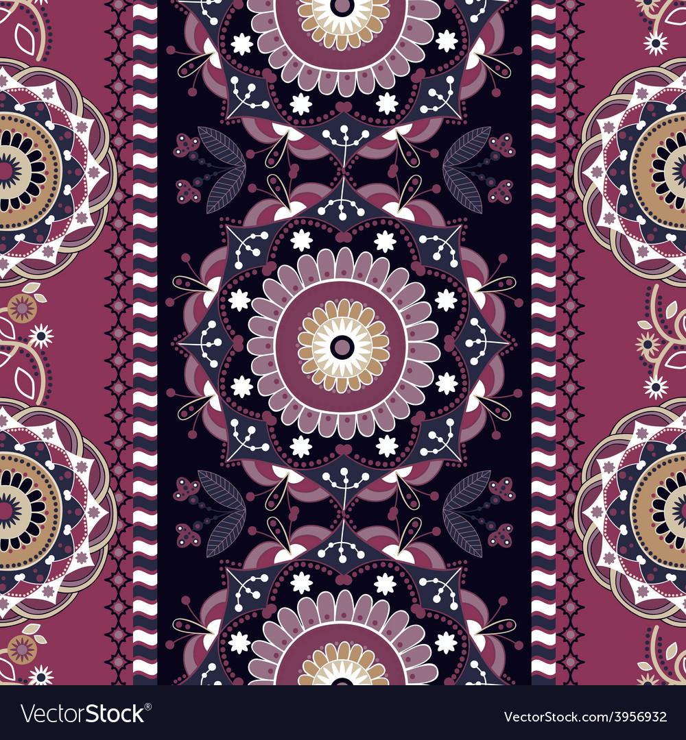 Striped seamless ornamental patter floral ethnic vector | Price: 1 Credit (USD $1)