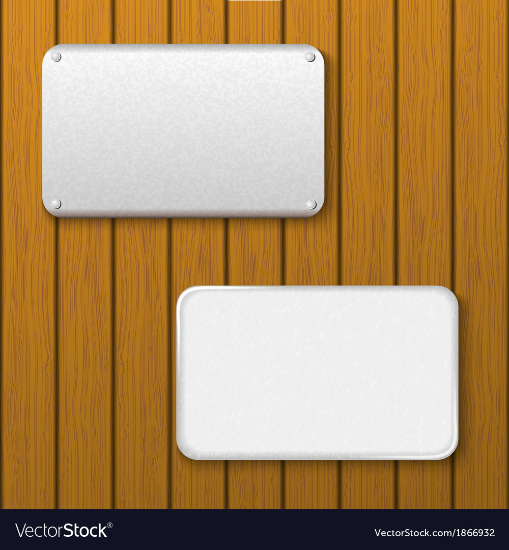 Two metal plates on a wooden wall vector | Price: 1 Credit (USD $1)