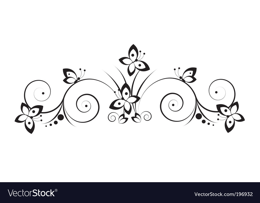 Vignette with butterflies vector | Price: 1 Credit (USD $1)