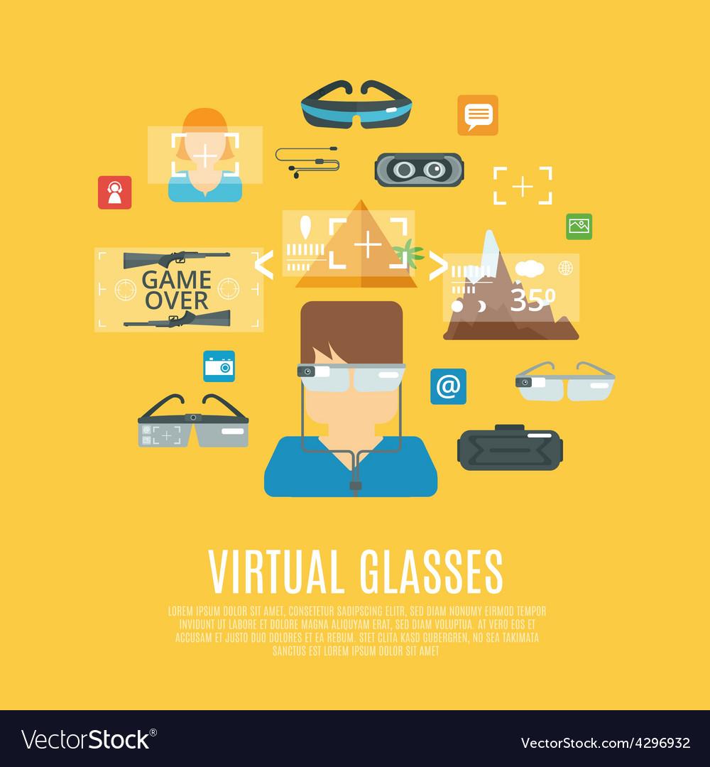Virtual glasses flat vector | Price: 1 Credit (USD $1)