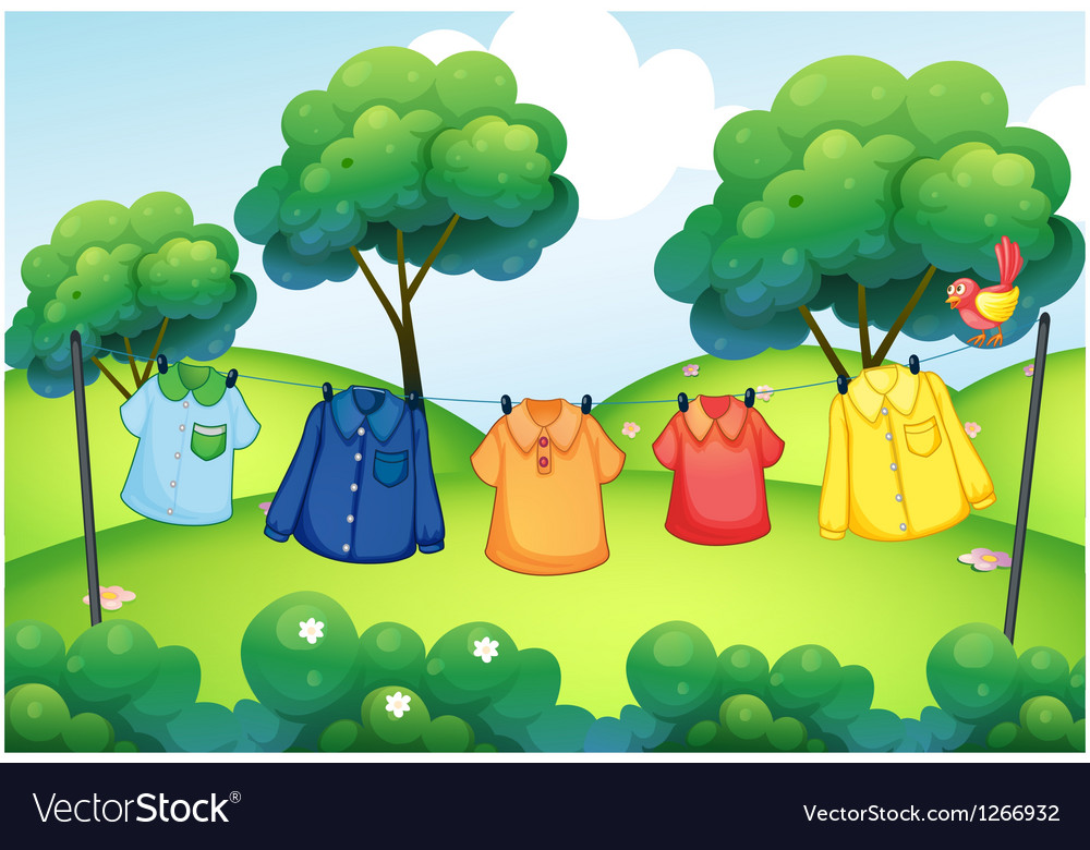 Washed clothes hanging at the top of the hills vector   Price: 1 Credit (USD $1)