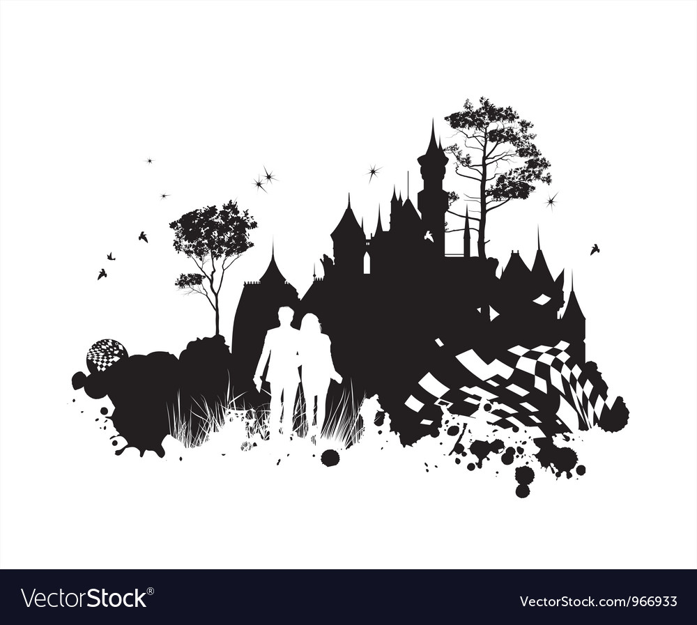 Castle romance grunge concept vector | Price: 1 Credit (USD $1)