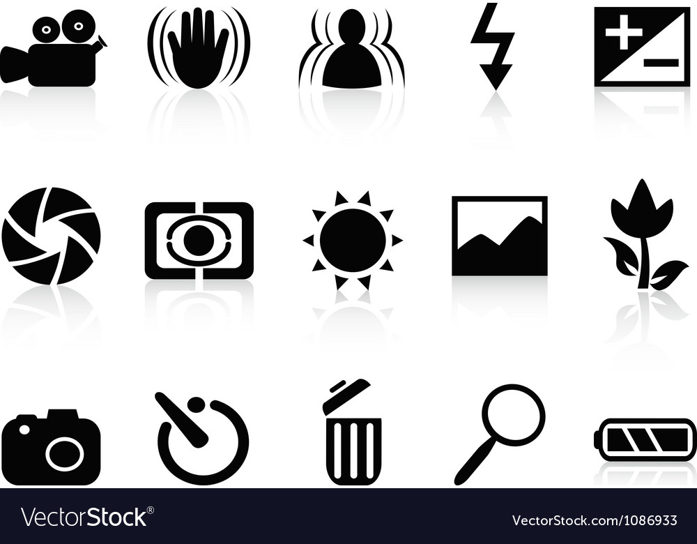 Collection of dslr camera symbol vector | Price: 1 Credit (USD $1)