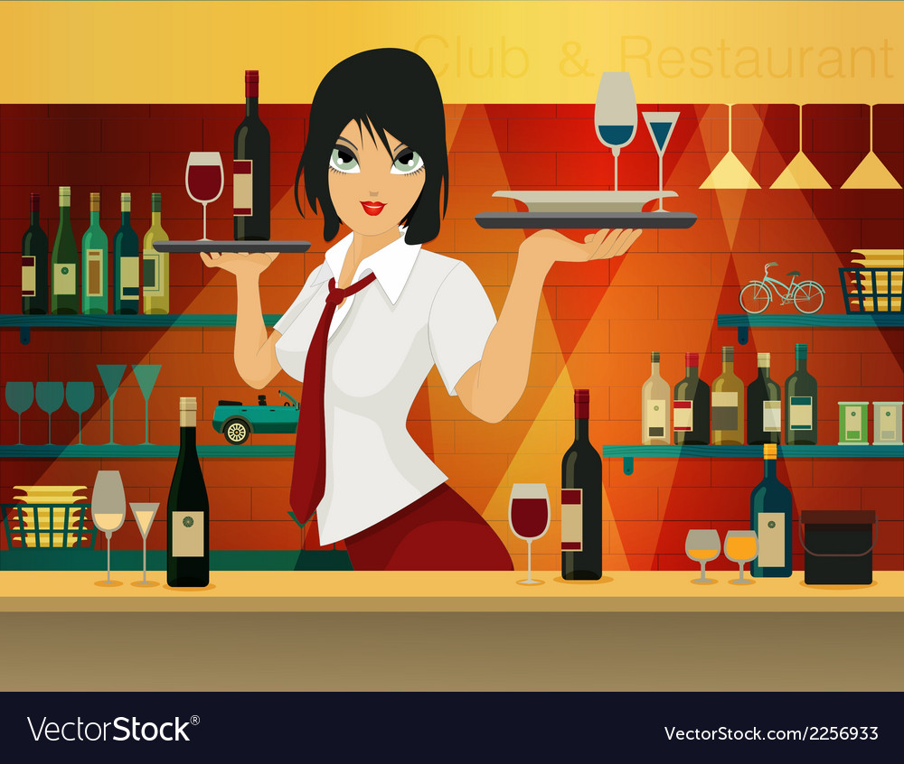 Female bartender vector | Price: 3 Credit (USD $3)