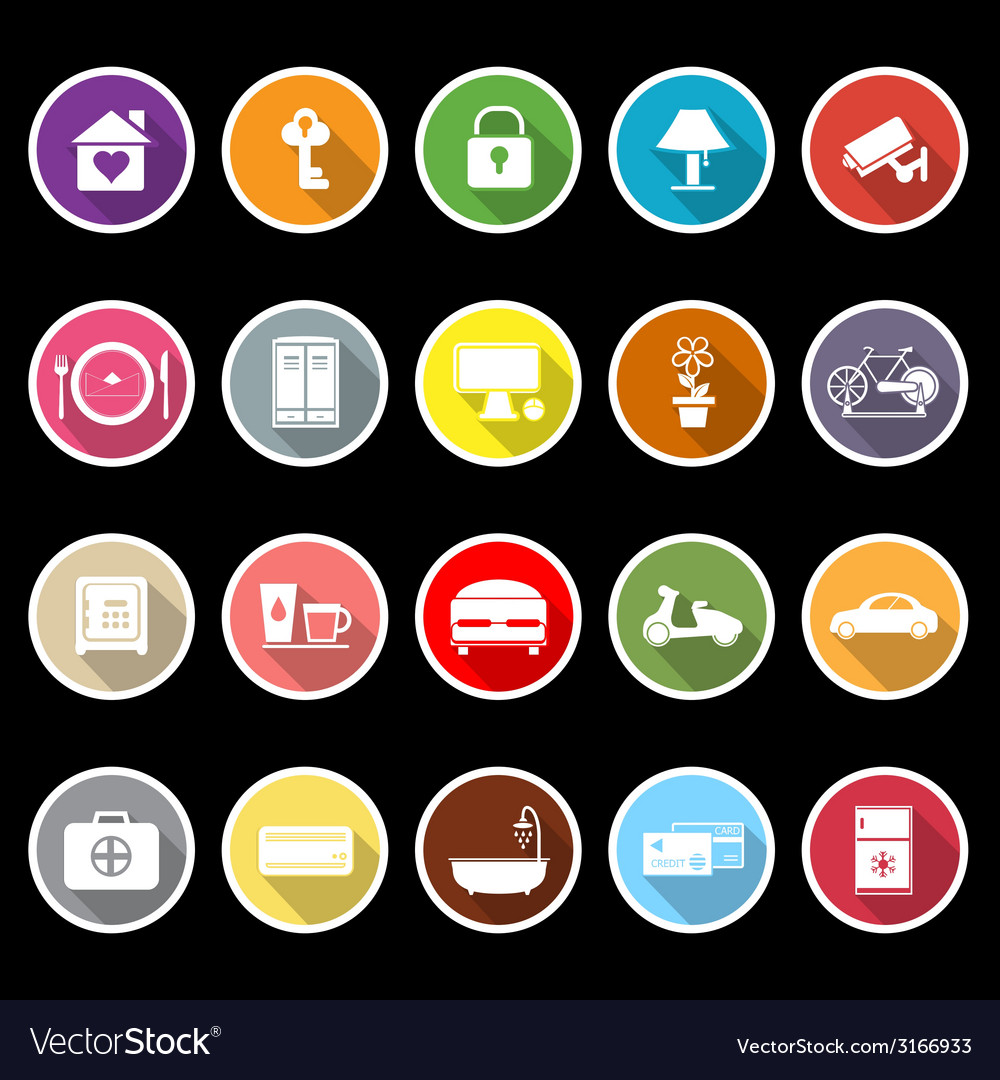 General home stay flat icons with long shadow vector | Price: 1 Credit (USD $1)