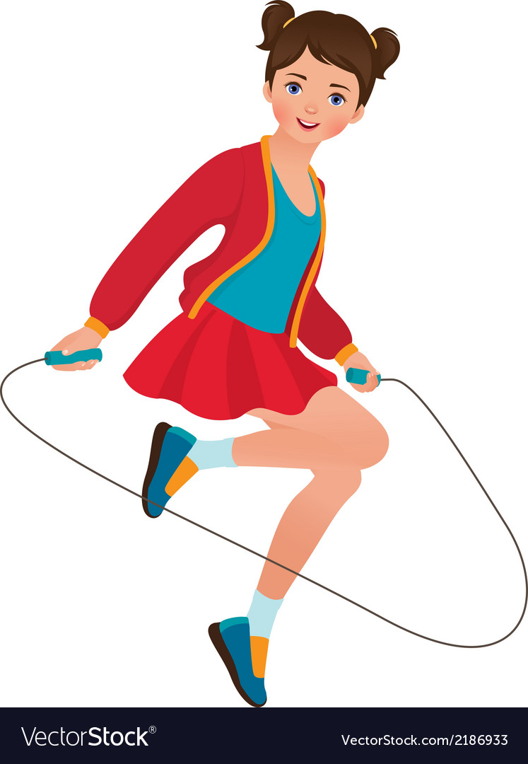 Girl with a skipping rope vector | Price: 1 Credit (USD $1)