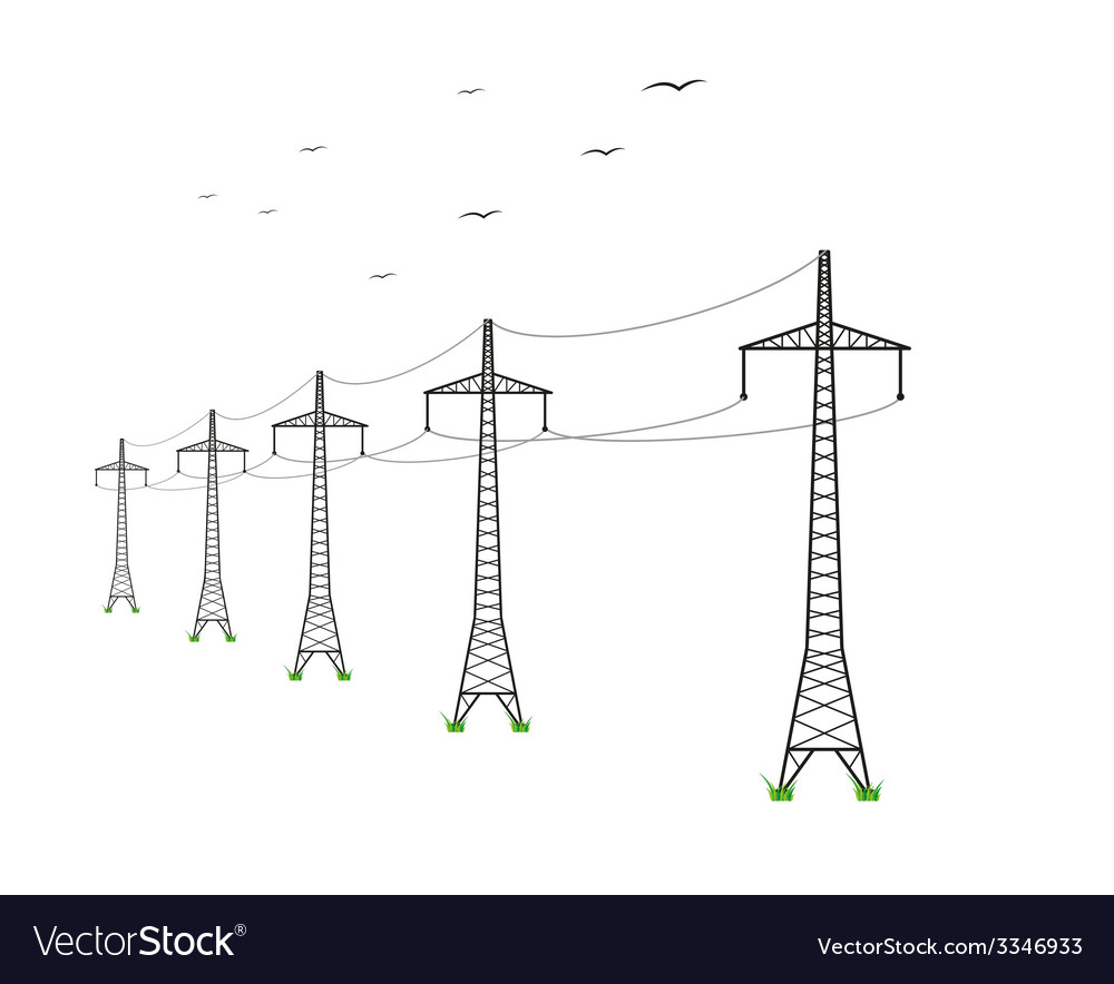 High voltage power lines vector | Price: 1 Credit (USD $1)