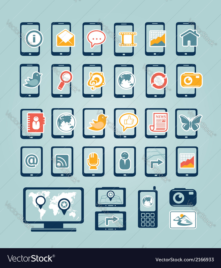 Mobile device icons vector | Price:  Credit (USD $)