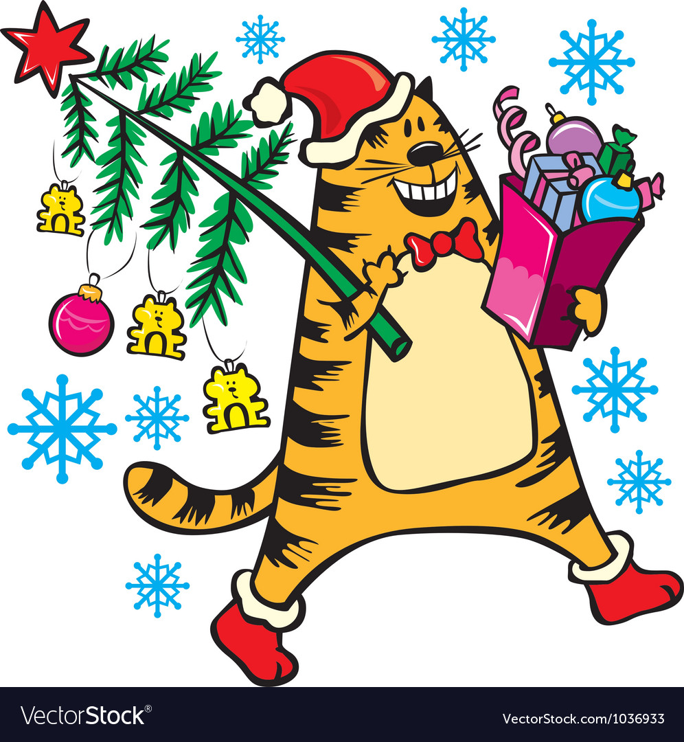 New years cat with christmas tree vector | Price: 3 Credit (USD $3)