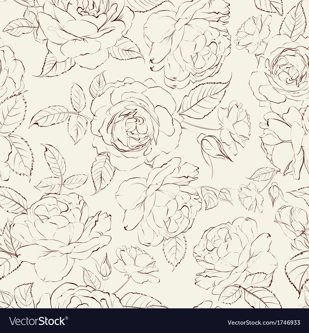 Roses seamless background vector | Price: 1 Credit (USD $1)