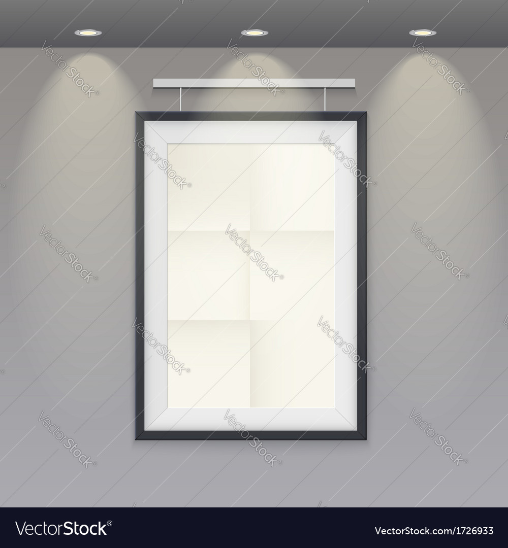 White poster template with frame on a rope vector | Price: 1 Credit (USD $1)