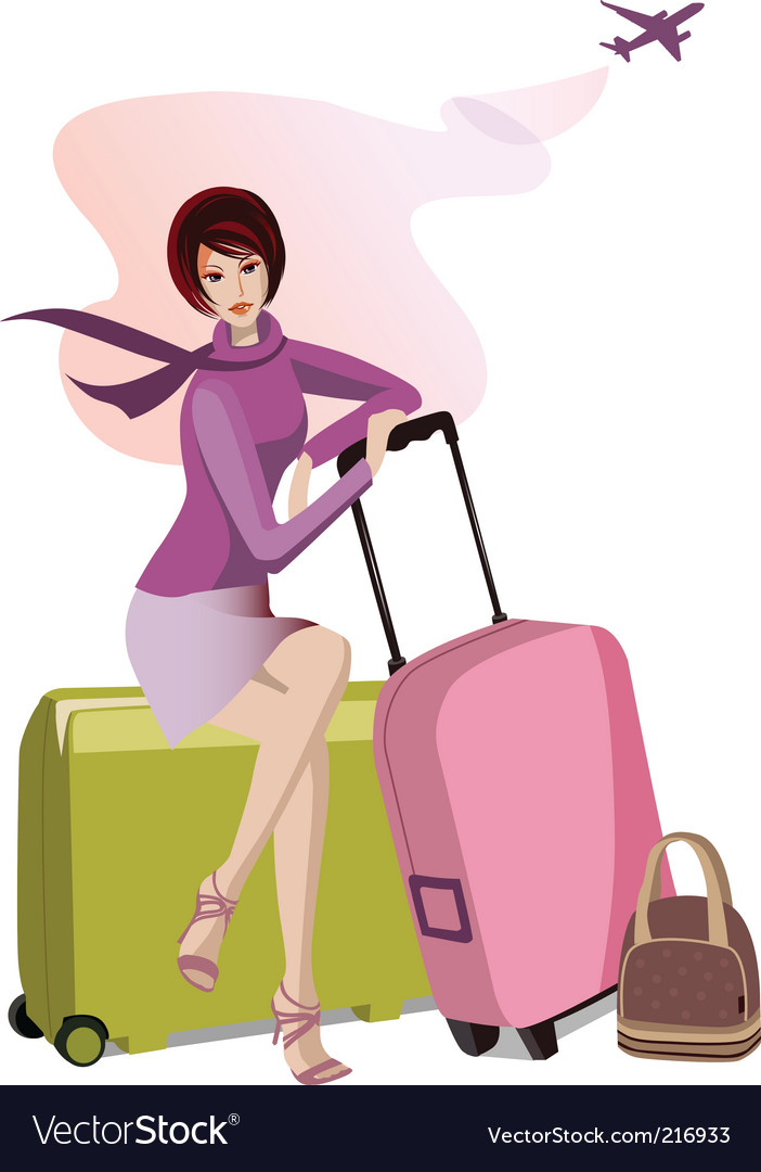 Woman with travel cases vector | Price: 3 Credit (USD $3)