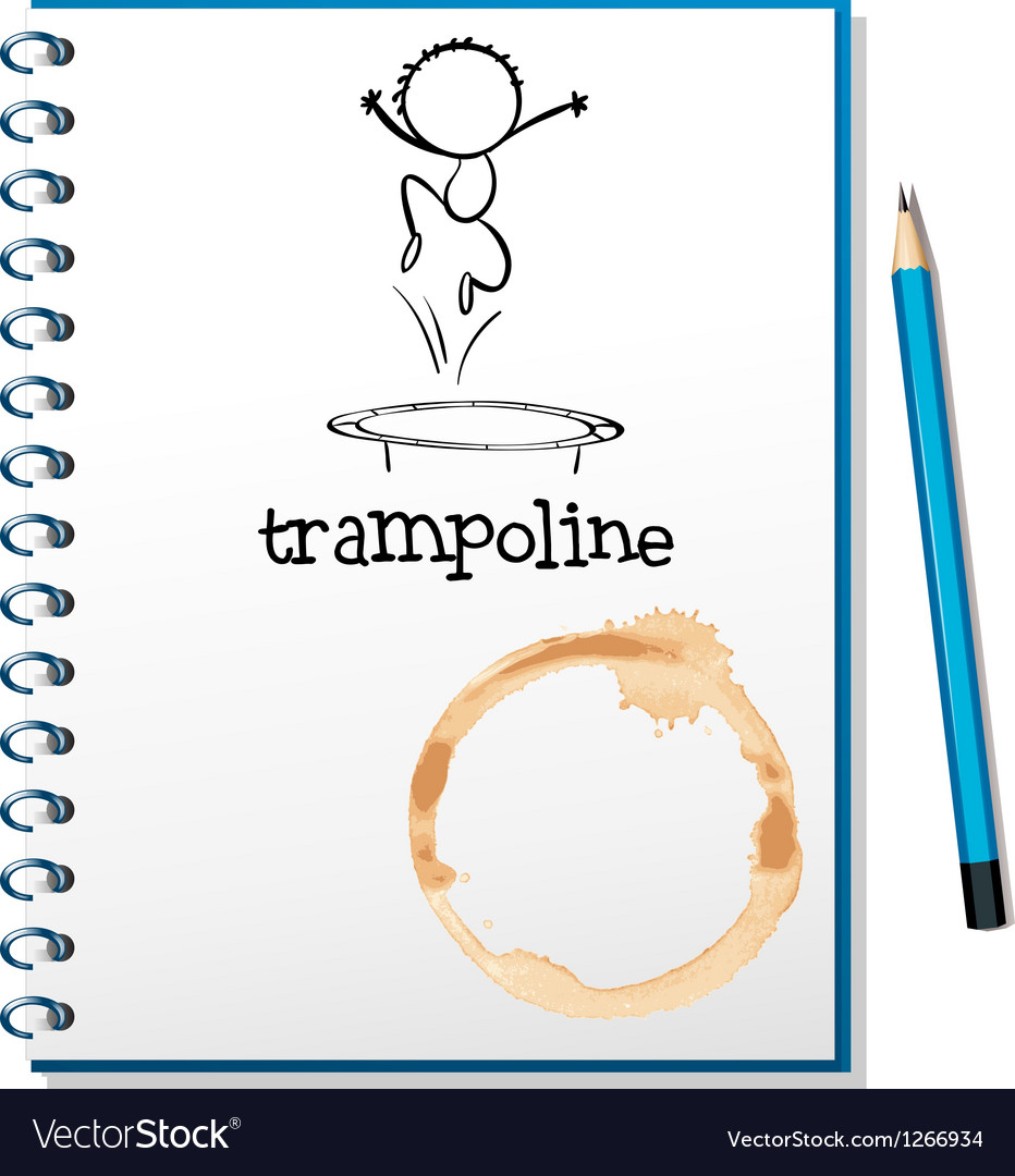 A notebook with a trampoline at the cover vector