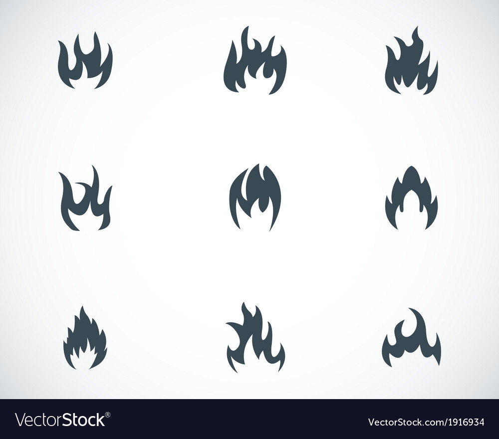 Black fire icons set vector | Price: 1 Credit (USD $1)