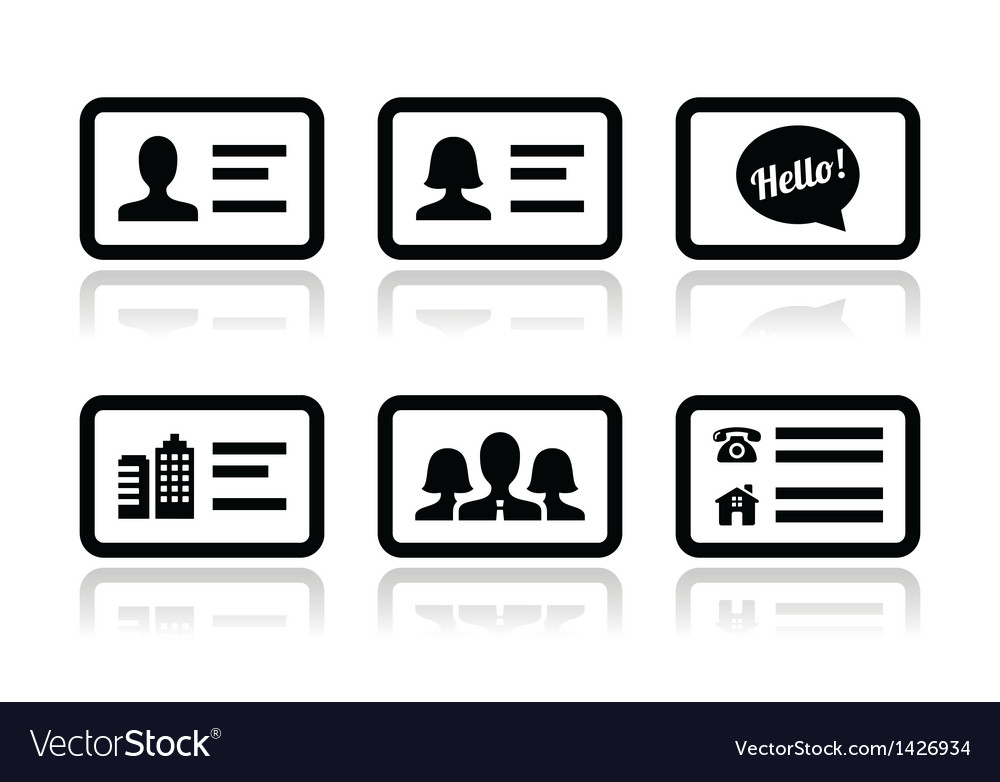 Business card icons set vector | Price: 1 Credit (USD $1)