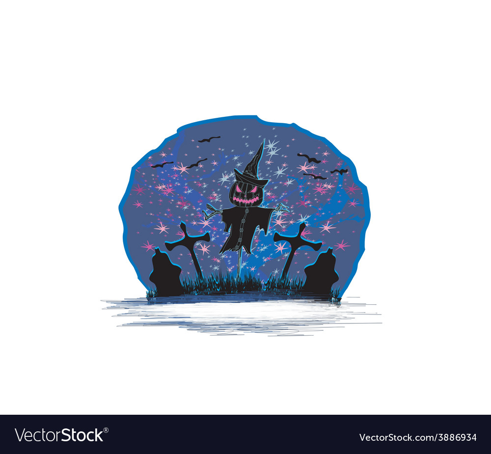 Creepy scarecrow in a night scene vector | Price: 1 Credit (USD $1)
