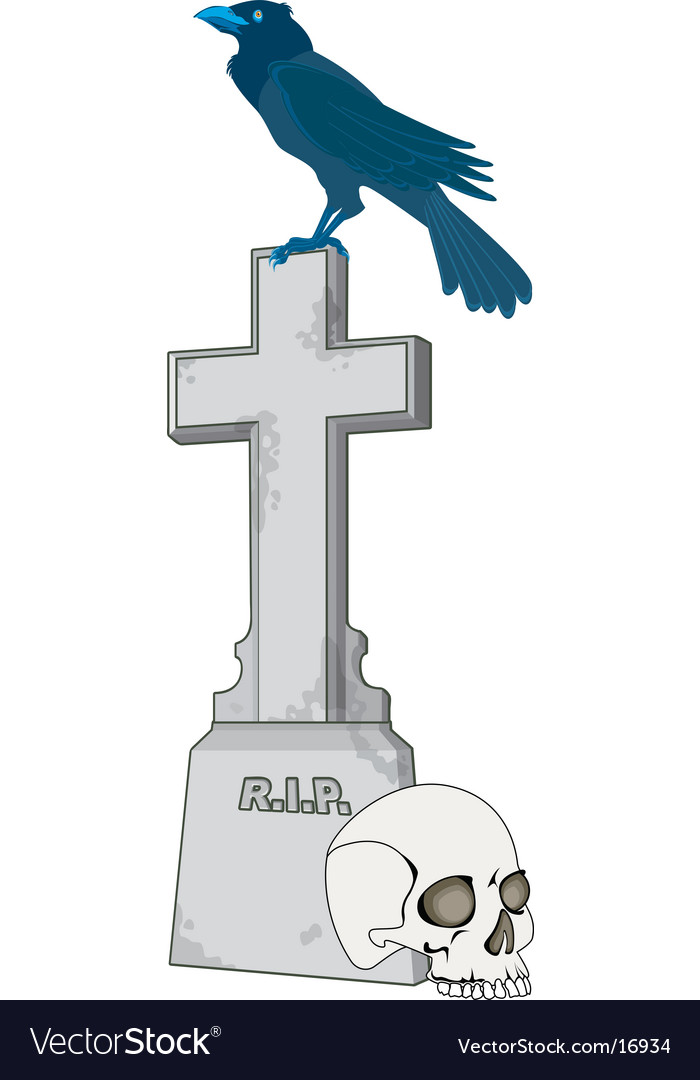 Crow on a tomb vector | Price: 1 Credit (USD $1)