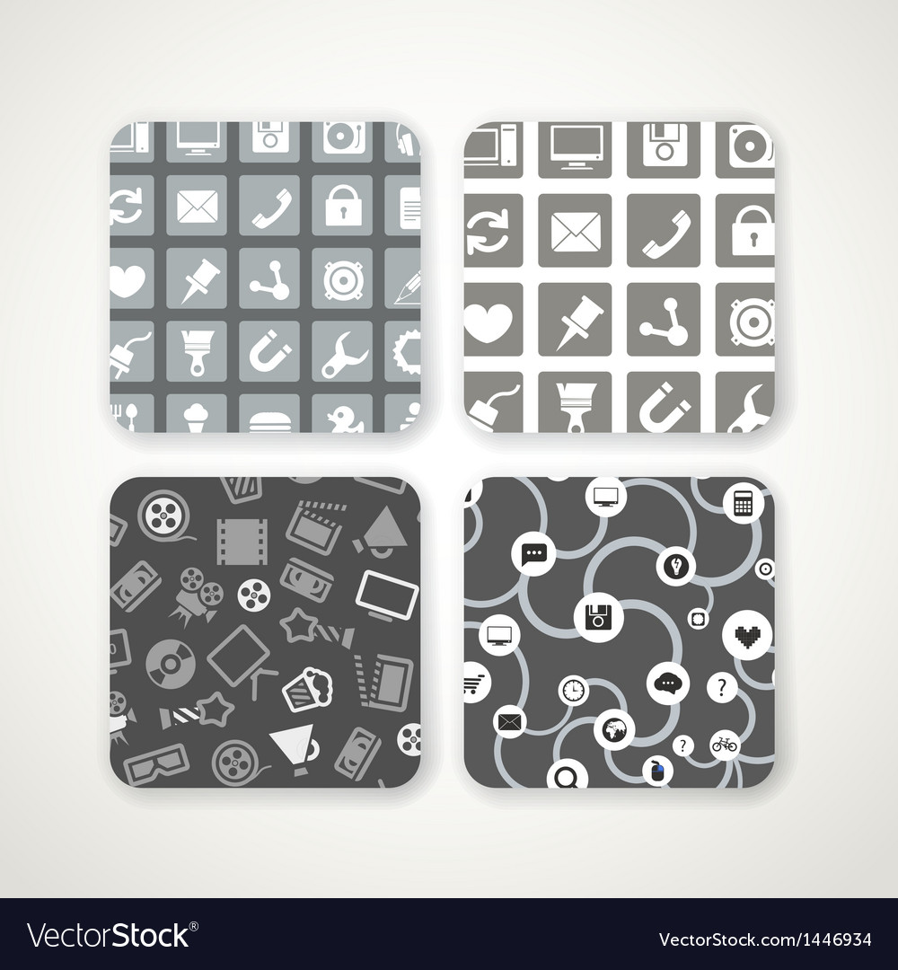 Different patterns with icons set vector | Price: 1 Credit (USD $1)