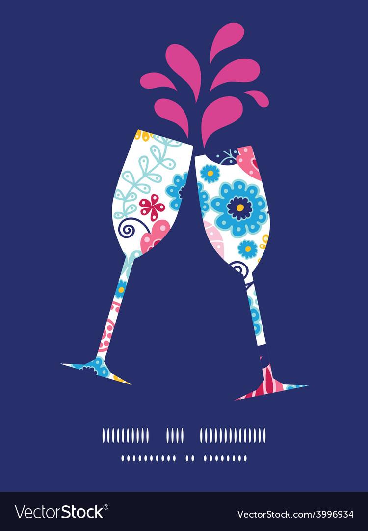 Fairytale flowers toasting wine glasses vector   Price: 1 Credit (USD $1)