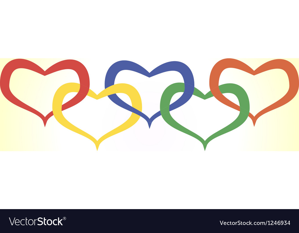 Hearts in olympic style vector | Price: 1 Credit (USD $1)