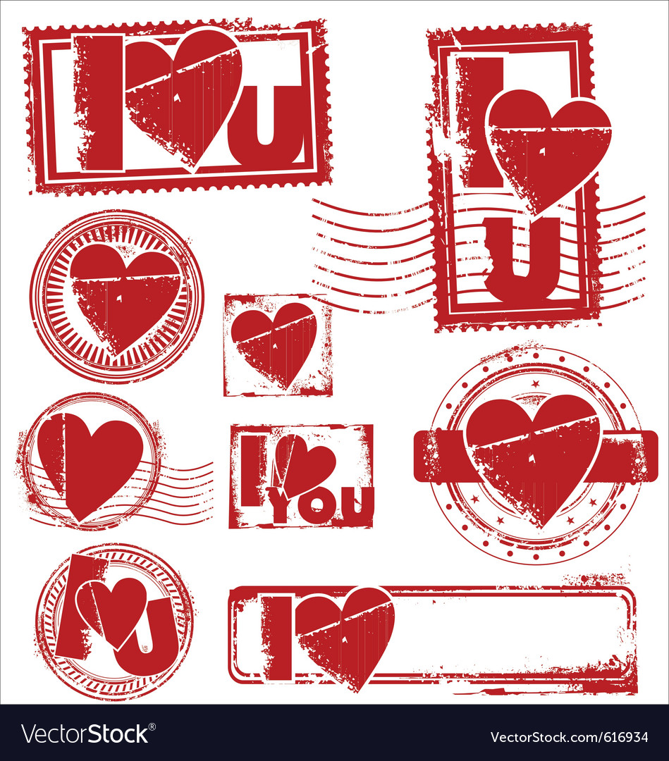 I love you stamps vector | Price: 1 Credit (USD $1)