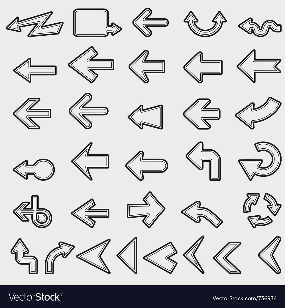 Lots of black line arrows vector | Price: 1 Credit (USD $1)