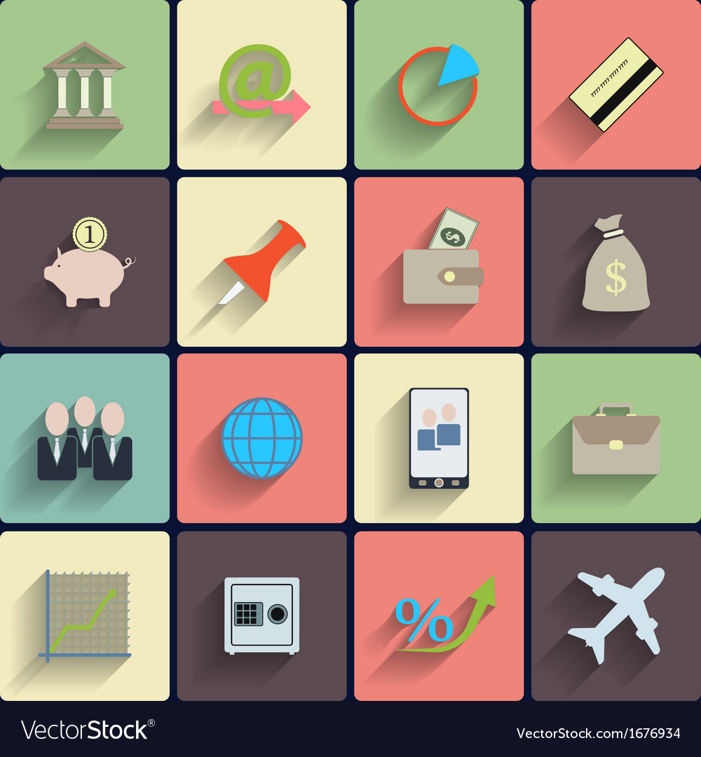 Office and business flat icons vector | Price: 1 Credit (USD $1)