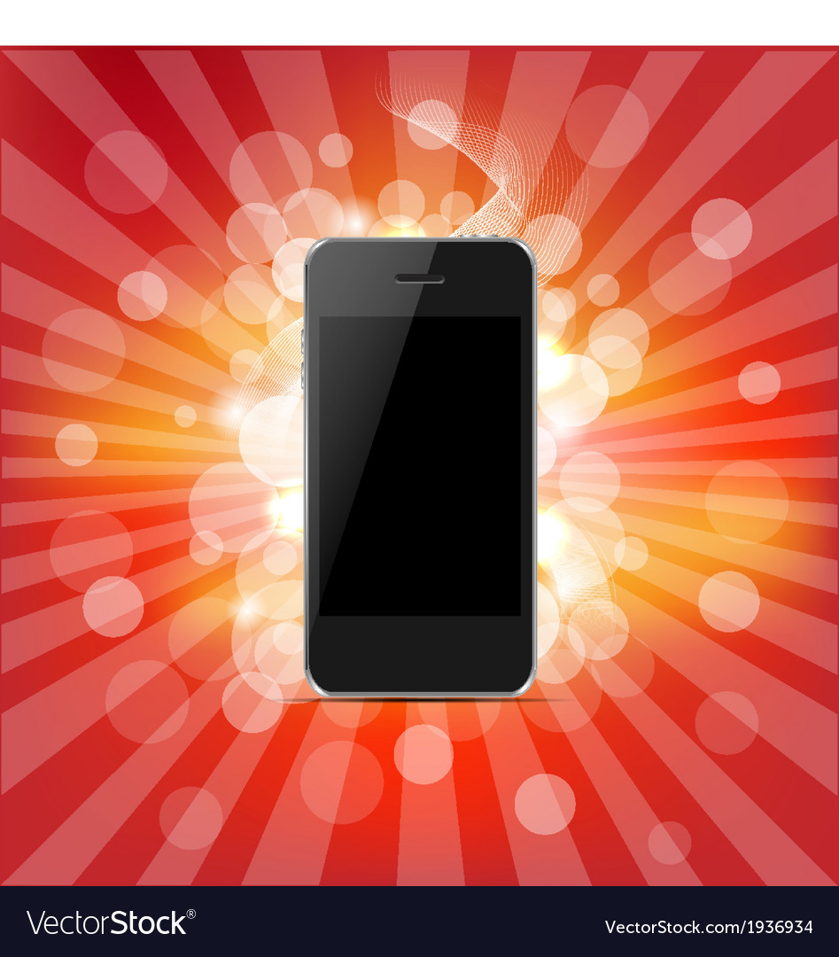 Phone and red sunburst vector | Price: 1 Credit (USD $1)