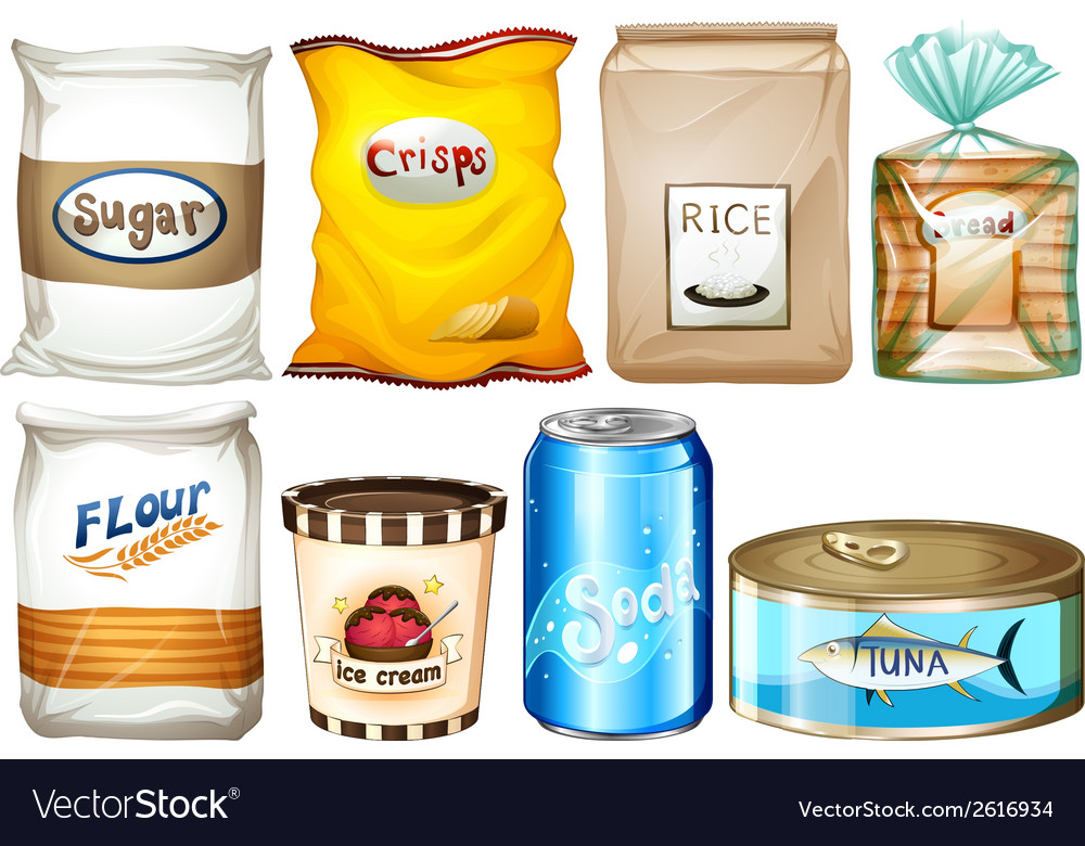 Set of packaged foods vector | Price: 1 Credit (USD $1)