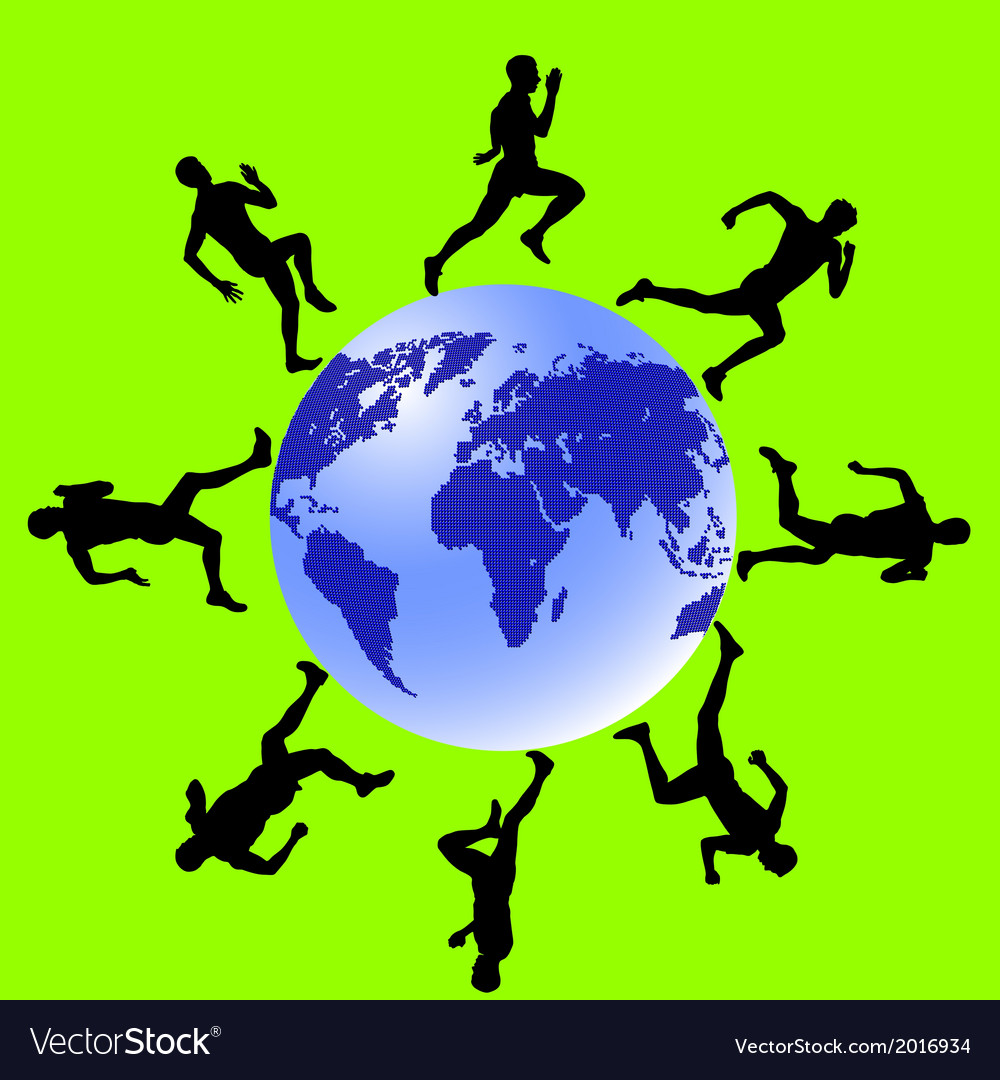 Silhouettes athletes run around the globe vector | Price: 1 Credit (USD $1)
