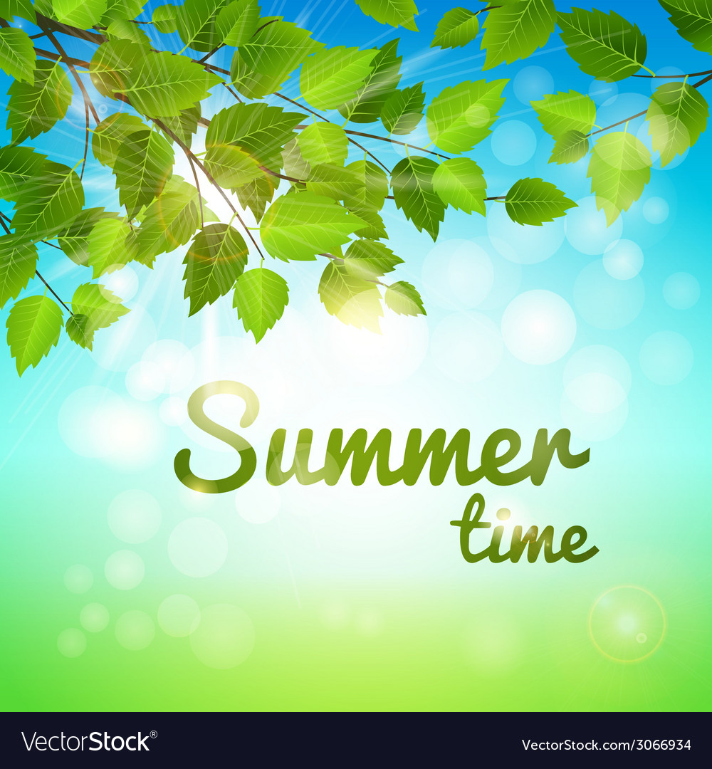 Summertime background with fresh green leaves vector | Price: 1 Credit (USD $1)