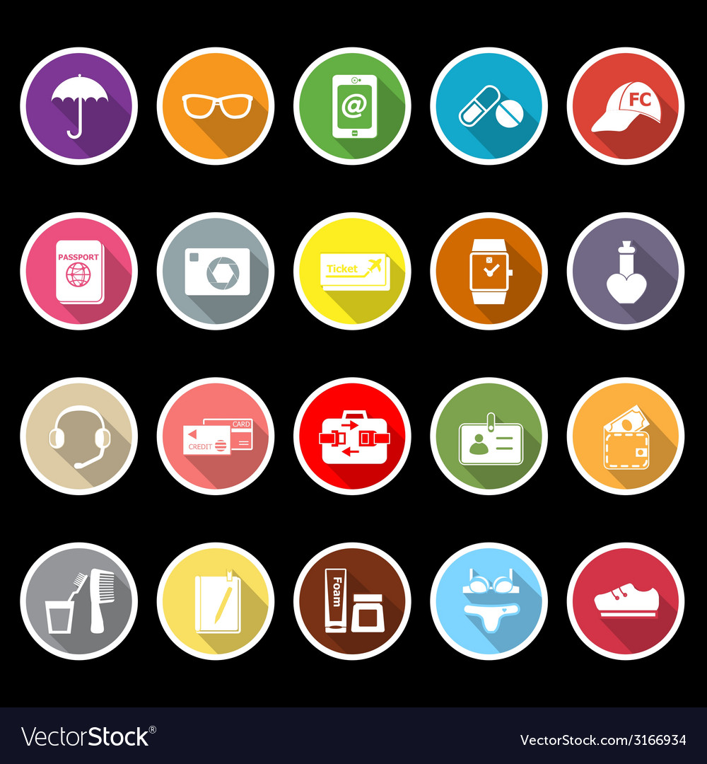 Travel luggage preparation flat icons with long vector | Price: 1 Credit (USD $1)