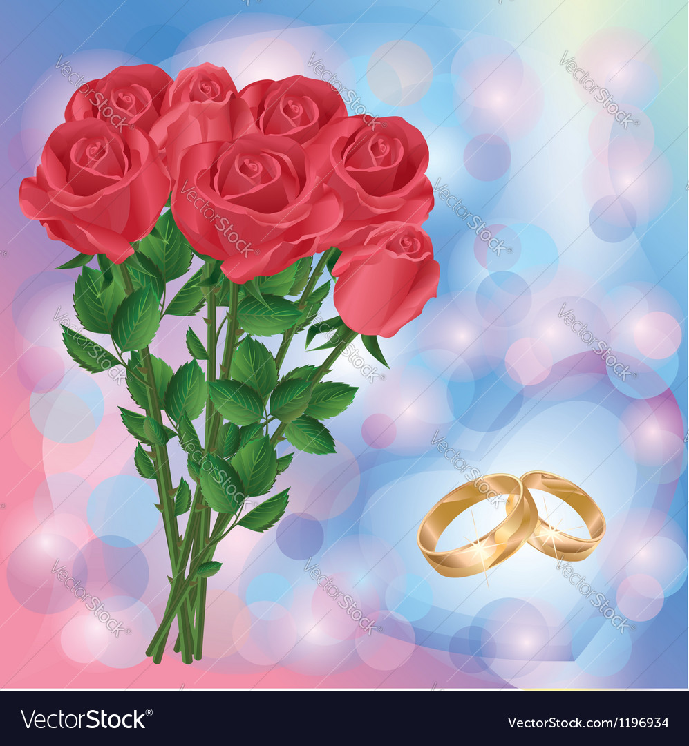 Wedding greeting or invitation card with red roses vector | Price: 1 Credit (USD $1)