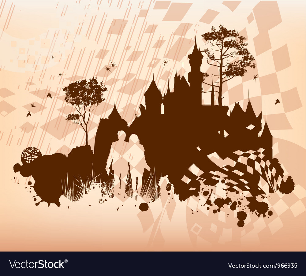 Castle lovers concept background vector | Price: 1 Credit (USD $1)