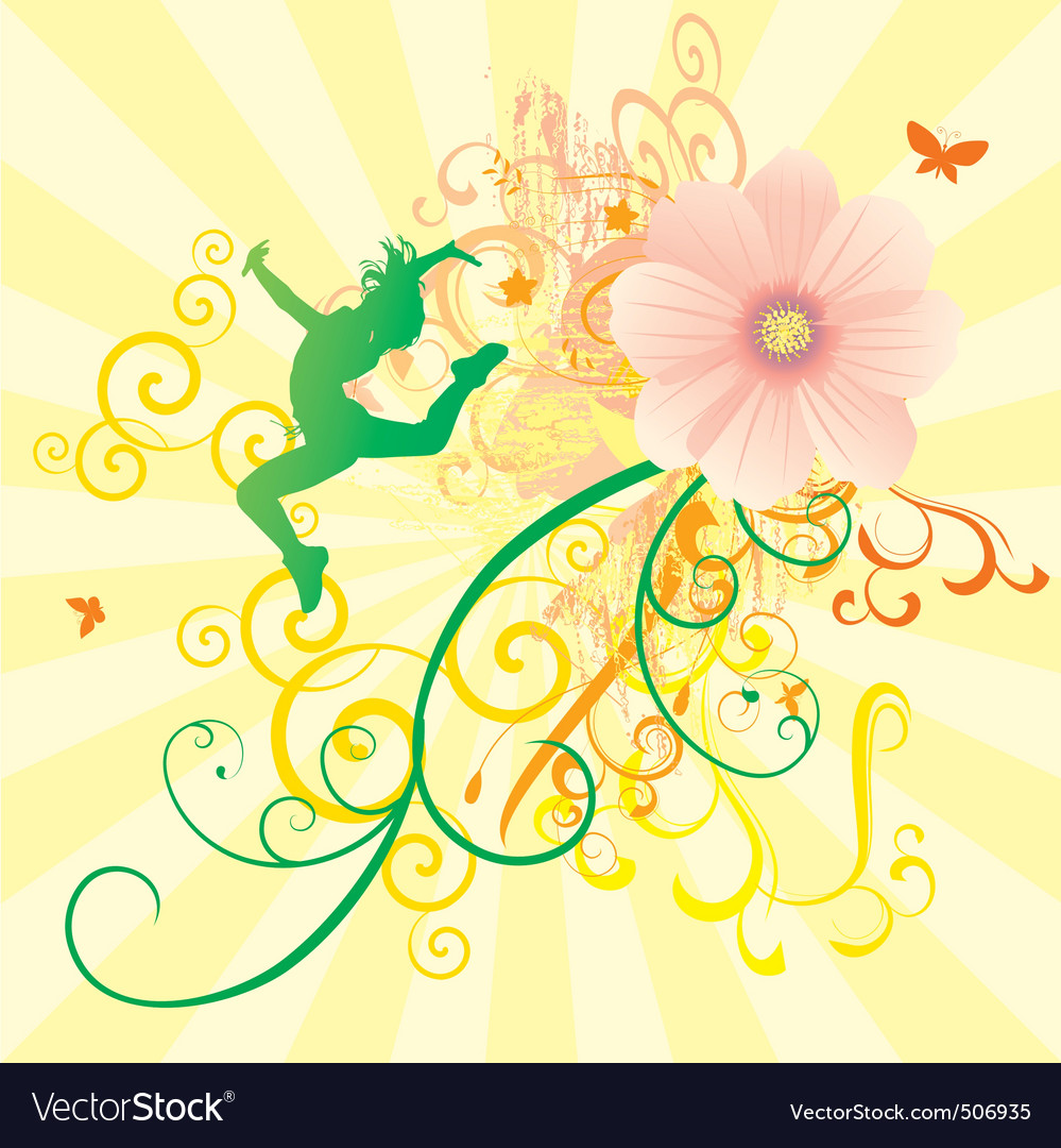 Color dance flowers girl vector | Price: 1 Credit (USD $1)