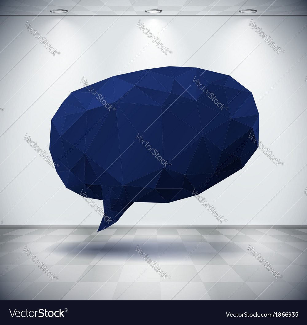 Dark geometric speech bubble in white room vector | Price: 1 Credit (USD $1)