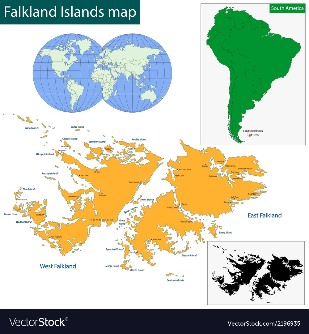 Falkland islands map vector | Price: 1 Credit (USD $1)