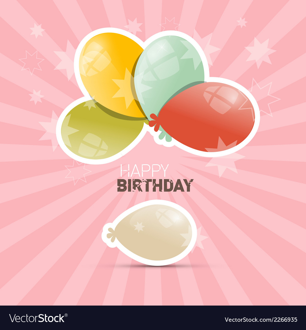 Happy birthday retro with balloons vector | Price: 1 Credit (USD $1)