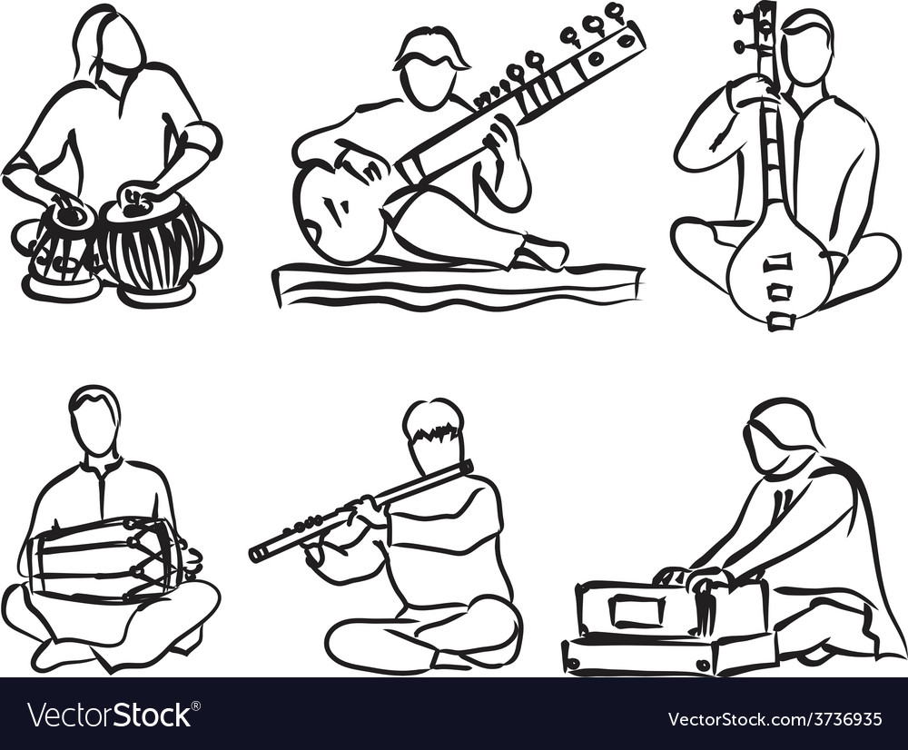 Indian musician set vector | Price: 1 Credit (USD $1)