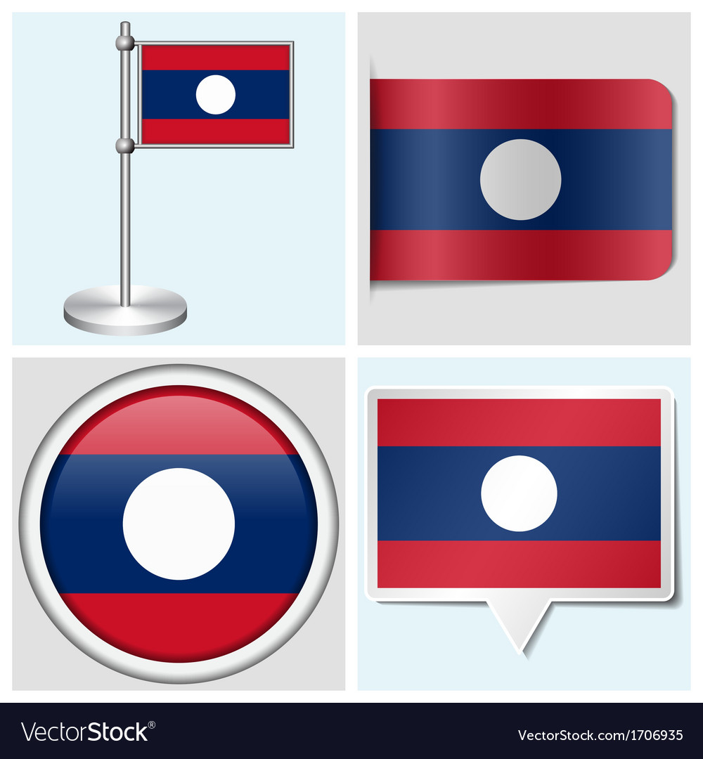 Laos flag - sticker button label flagstaff vector | Price: 1 Credit (USD $1)