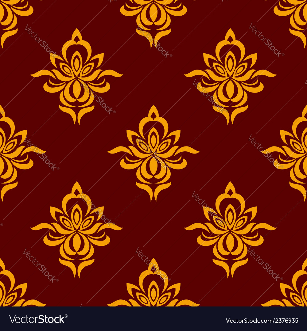 Maroon and orange seamless floral pattern vector | Price: 1 Credit (USD $1)