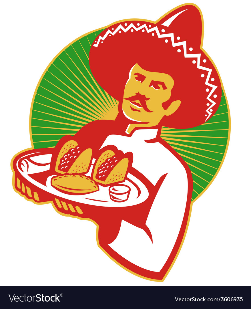 Mexican chef serving taco burrito empanada retro vector | Price: 1 Credit (USD $1)